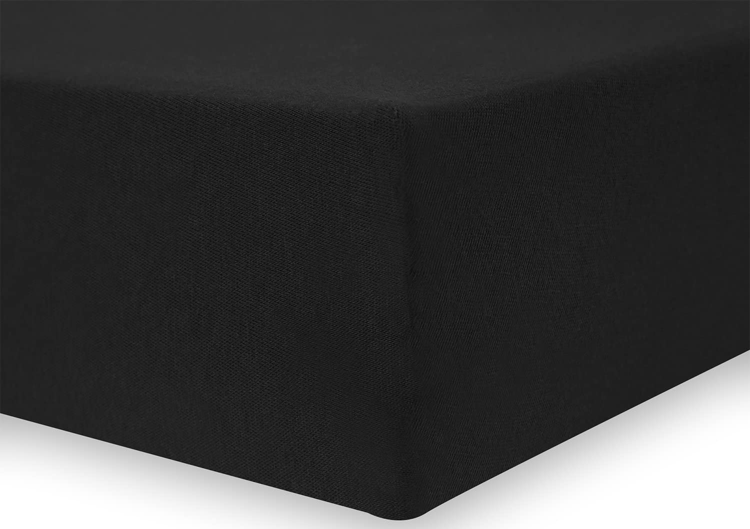 80x200-90x200 cm Black DecoKing Fitted Sheet UK Single 100/% Supreme Quality Cotton Jersey Boxspring Nephrite Collection