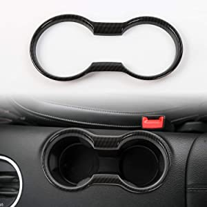 CheroCar Cup Holder Cover Frame Trim for Ford Mustang 2015-2020, Interior Accessories, Carbon Fiber Grain, 1PC