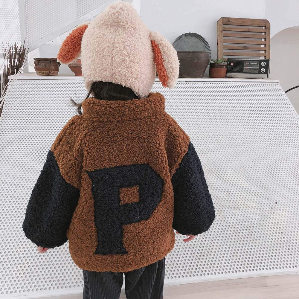 Pollyhb Baby Boys Girls Thicken Warm Coat Toddler Coat Fluffy Kids Winter Jacket