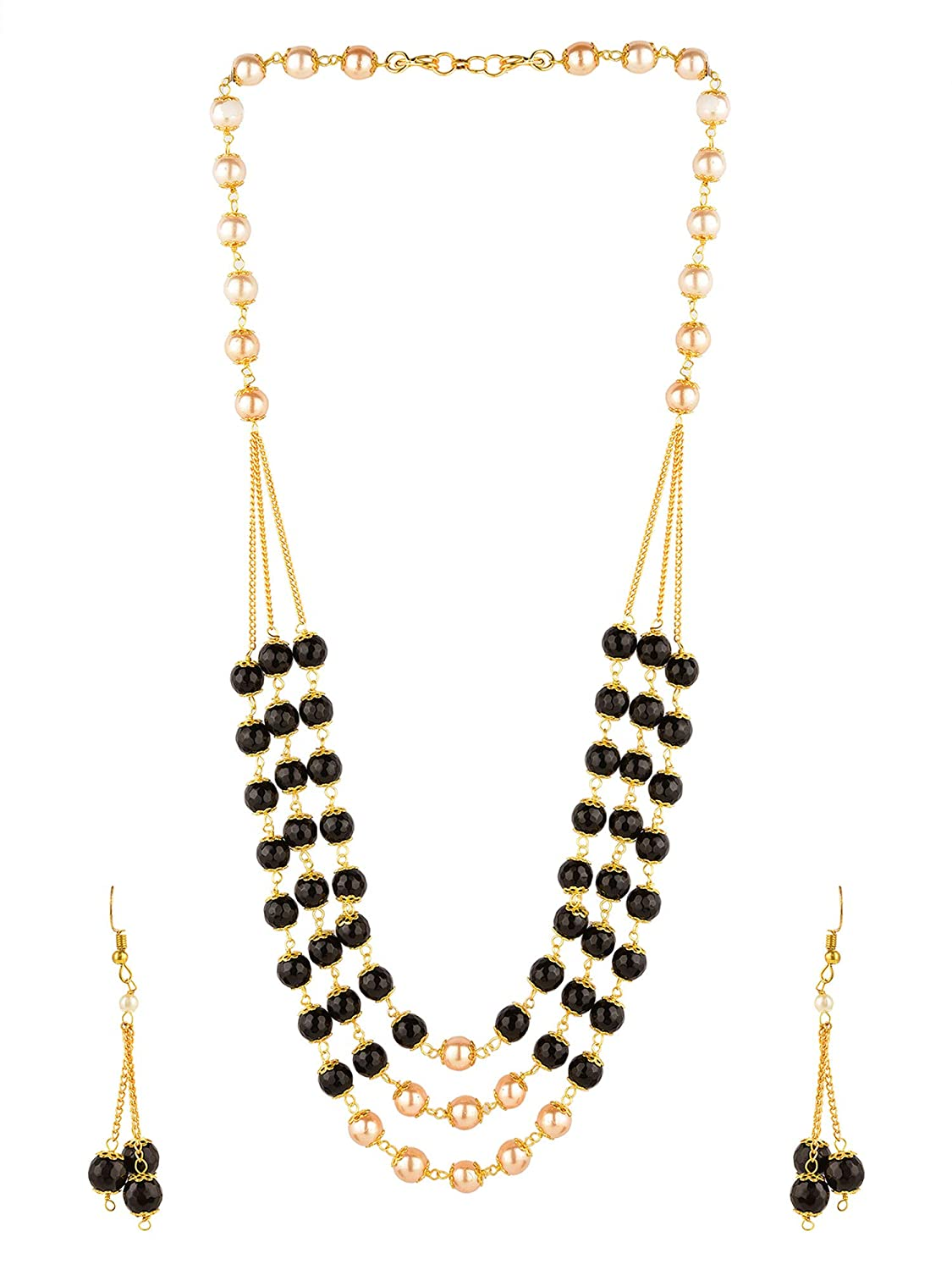 53f51db62 Amazon.com: Efulgenz Indian Bollywood Multi Layered Faux Pearl Beads Bridal  Necklace Earrings Wedding Jewelry Set: Jewelry