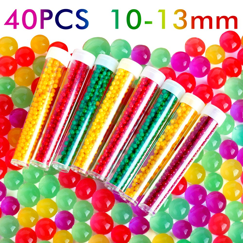 PROLOSO 40 Pack of Water Beads Growing Jelly Gel Beads for Orbeez Spa Refill, Kids Sensory Toys, Home Decoration, Classroom Student Prizes Awards
