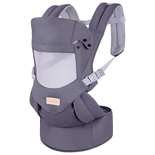 Ergonomic Baby Carrier with Hip Seat Soft & Breathable Baby Carriers,All Positions Front and Back for Infants to Toddlers,Up to 44lbs,Grey (Dark Grey)