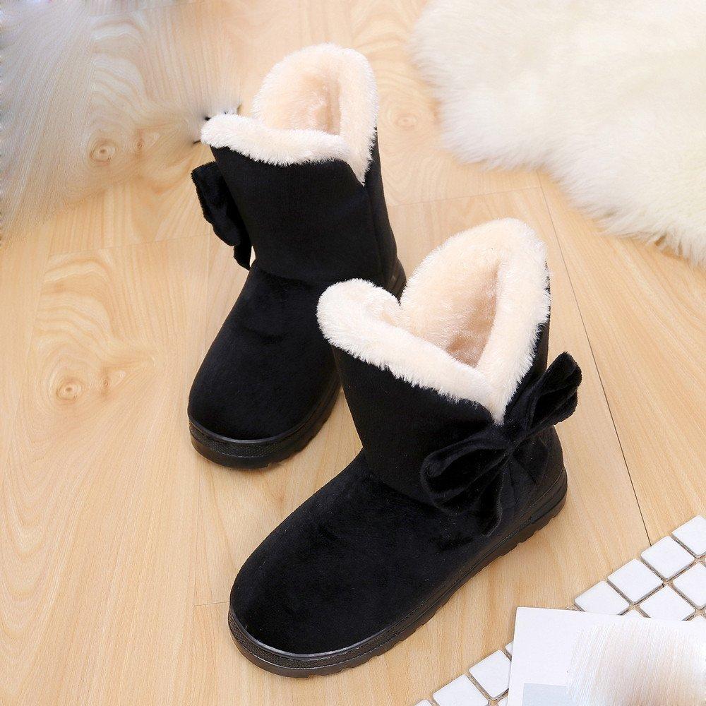 Bottes Femme Hiver Shobdw Bottines Chaud Bowknot Neige Automne Noir Marron Chaussures EU 36-37, Noir