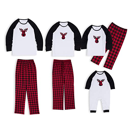 52dd2d5a51c4 PatPat Family Matching Christmas Pajamas Set Deer Plaid Print Top and Pants  PJS Sleepwear for Kids
