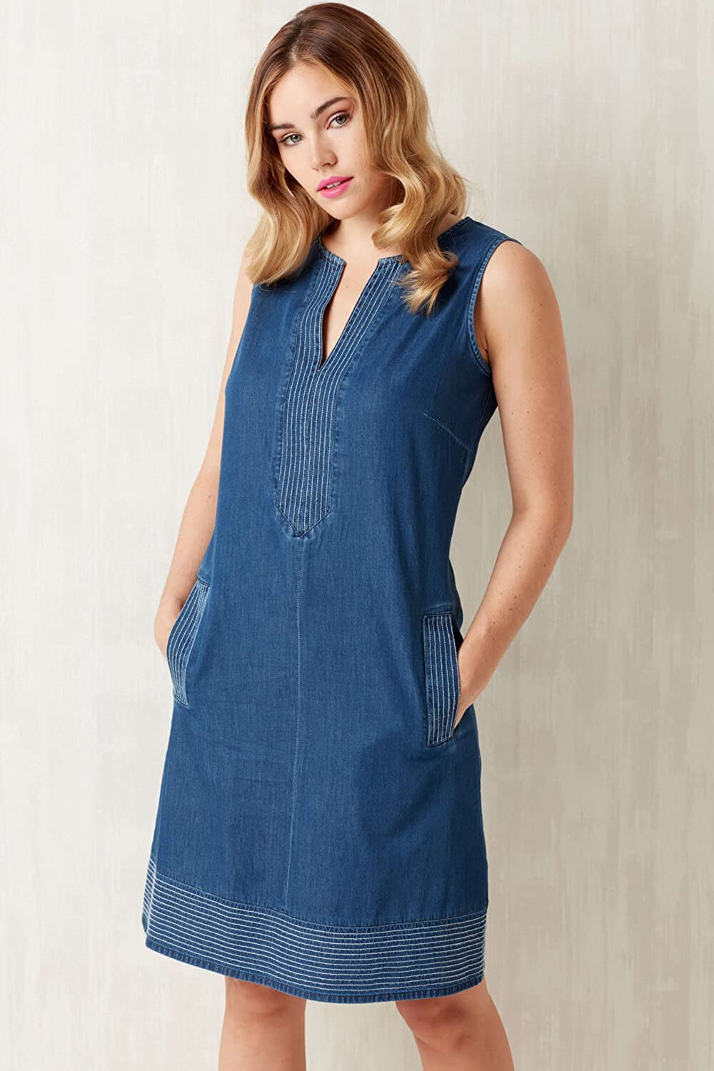 56b2ebb8db Roman Originals Women Shift Denim Dress - Ladies V-Neck Sleeveless Knee  Length Daytime 100% Cotton Jean Style Smock Dresses - Holiday Casual A-Line  Tunic ...