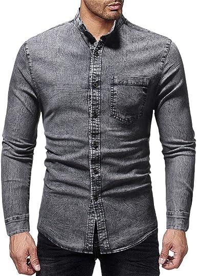 ZHJA Camisa Vaquera Lavada De Manga Larga con Cuello Alto para Hombre Camisa Salvaje con Bolsillo Liso: Amazon.es: Ropa y accesorios