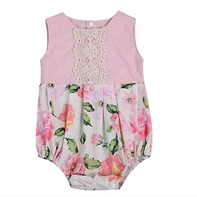 Newborn Baby Girls Sleeveless Floral Romper Bodysuit Jumpsuit Outfits Clothes UK