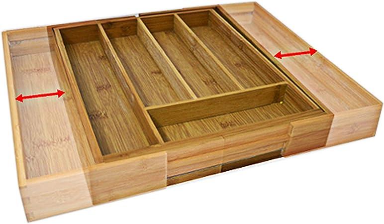 Relaxdays Caja de cubiertos de bambú, inserto de cubiertos extraíble como organizador de cocina, inserto de cajón 33.5x29-48x5 cm, natural: Amazon.es: Hogar