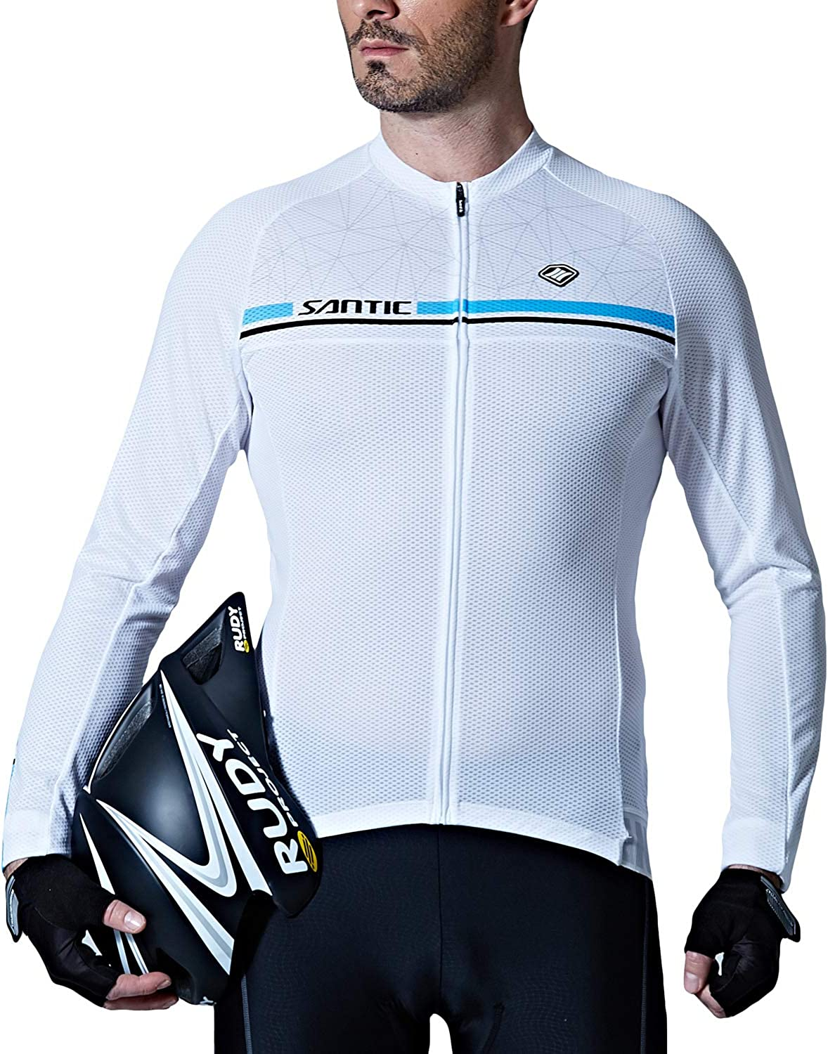 Santic Cycling Jersey Mens Long Sleeve Bike Reflective Full Zip Bicycle Shirts with Pockets