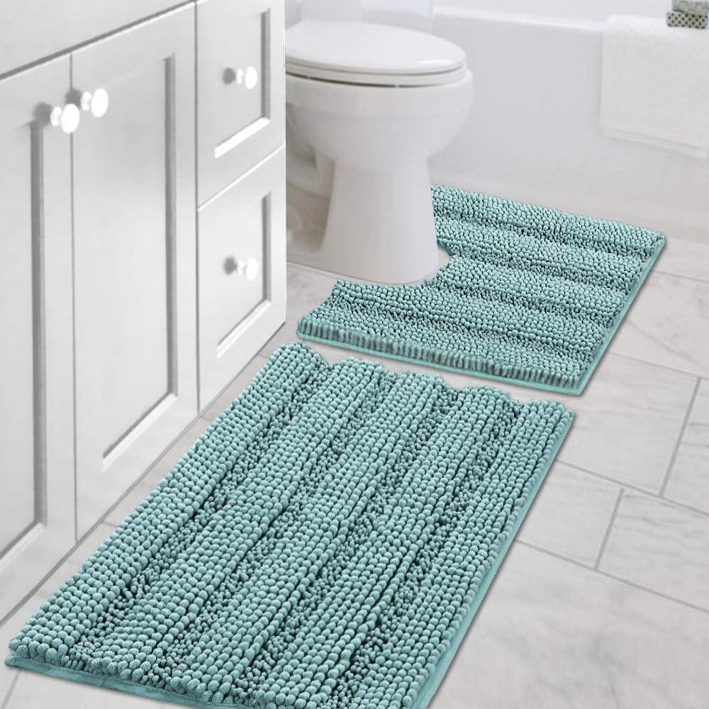 "H.VERSAILTEX Bath Rug Set 2 Piece for Bathroom Non Slip Thick Chenille Bath Rugs Contour and Rectangle, Water Absorbent Fluffy Shag Mats Machine Washable (20"" x 32"" Plus 20"" x 20"" U, Eggshell Blue)"