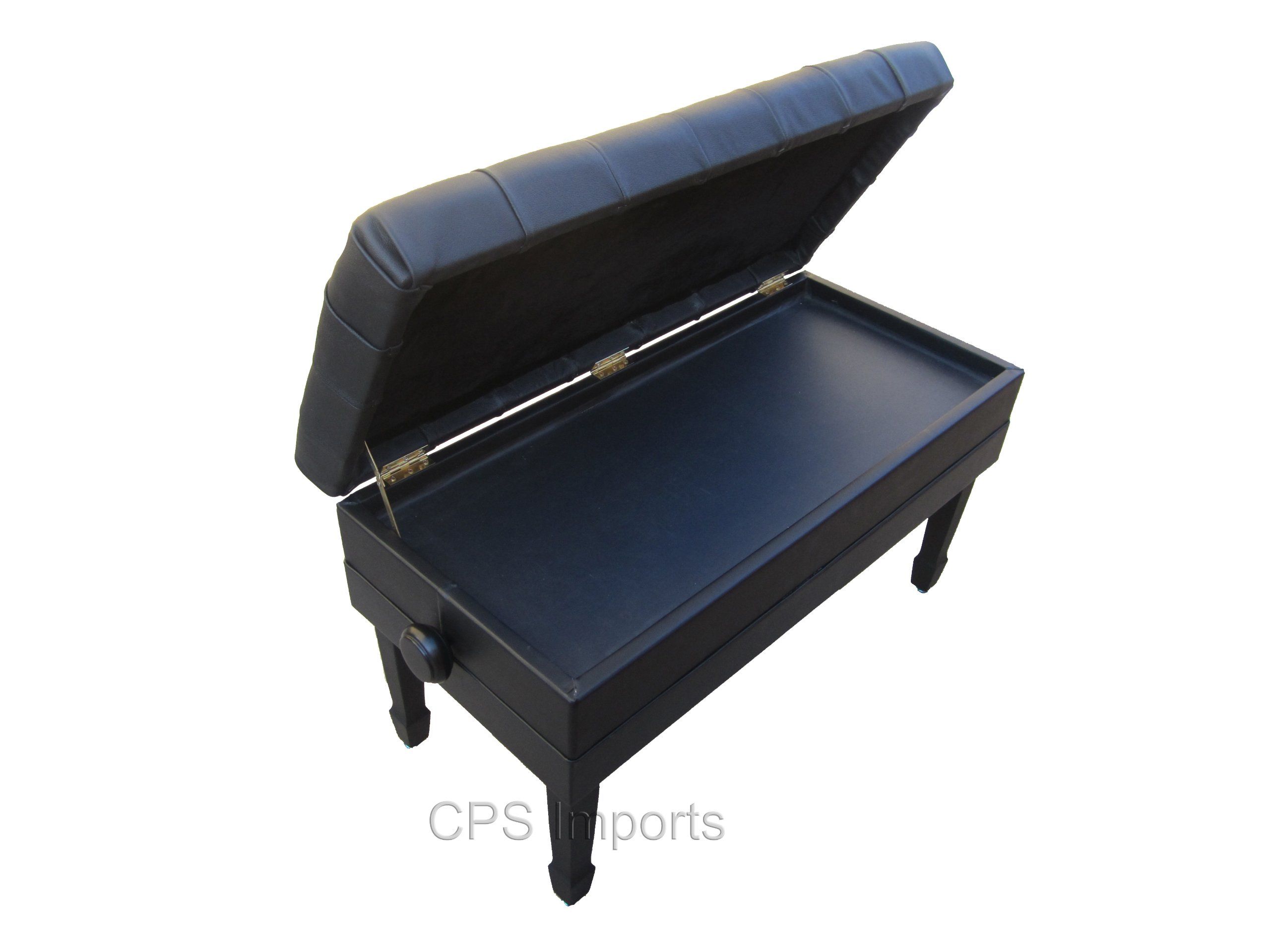 Adjustable Duet Size Genuine Leather Artist Concert Piano Bench Stool in Ebony Satin with Music Storage