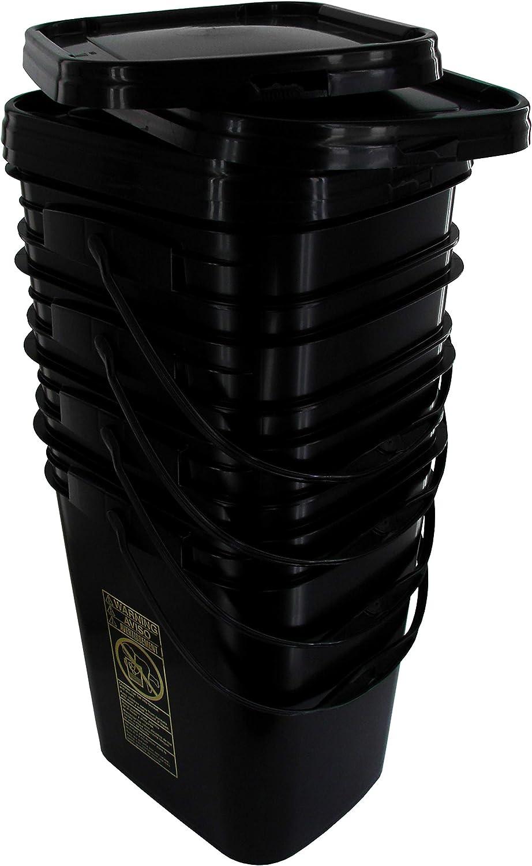 Black Rectangular Bucket 5.3-Gallon Bucket with Black Snap-on Lid, 4 Pack