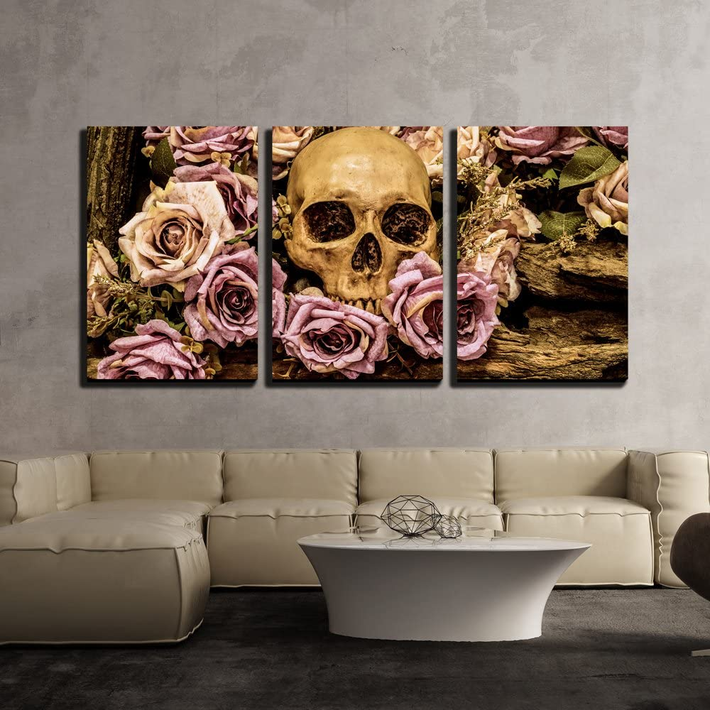 Original Creation, Grand Technique, Human Skull Roses Background Wall Decor x3 Panels