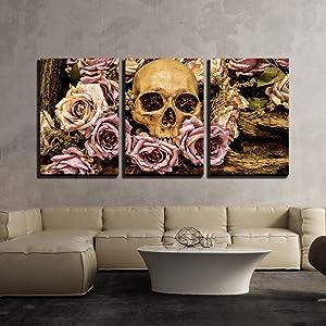 wall26 - Human Skull Roses Background - Canvas Art Wall Art - 16