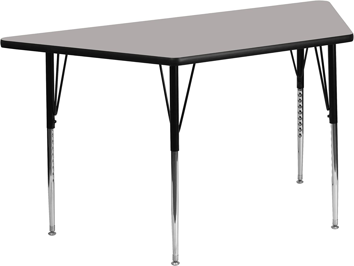 Flash Furniture 25''W x 45''L Trapezoid Grey HP Laminate Activity Table - Standard Height Adjustable Legs