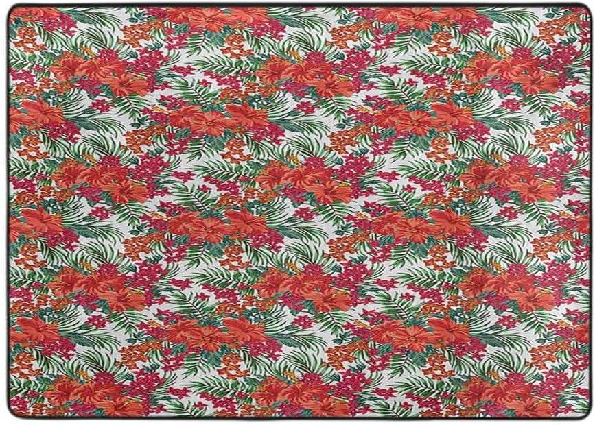 Luau - Alfombra para sala de estar, hibisco floreciente y flores silvestres, hojas de palma, follaje tropical, selva, 5 x 6 pies, robustas alfombras para dormitorio, cuarto de bebé, comedor