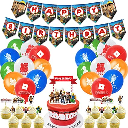 Shengping Original Roblox Monde Virtuel Anniversaire Drapeau Gateau Carte Bac A Sable Ballon Costume Jeu Fete Decoration Amazon Fr Cuisine Maison