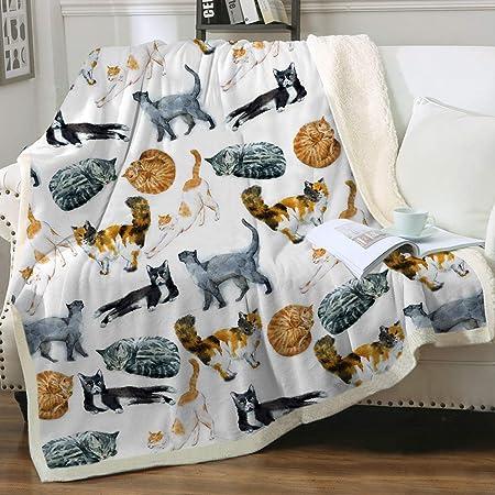 Leopard Print Kitty Blanket Soft Plush Bedroom Blanket Throw Cover 150*200cm