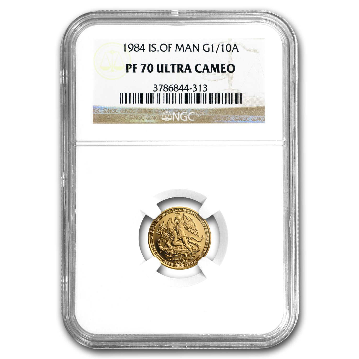 1984 Im Isle Of Man 110 Oz Gold Proof Angel Pf 70 Ngc Gold Pf 70