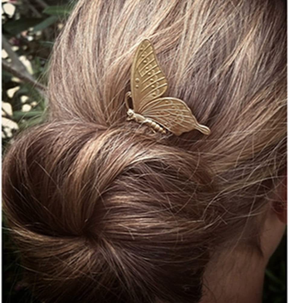 Siver//Gold Lovef 1Pair Delicate Retro Elegant Butterfly Hair Pin Clip Cuff Claw Side Comb