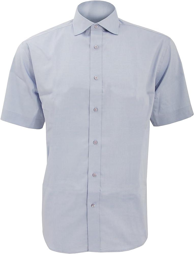 KUSTOM KIT - Camisa de Manga Corta Formal Modelo Oxford Superior Hombre Caballero - Fiesta/Trabajo/Eventos (Cuello 38cm) (Azul Claro): Amazon.es: Ropa y accesorios