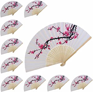 VANVENE 10 pcs Delicate Cherry Blossom Design Silk Folding Hand Fan Wedding Favors Gifts,Music Festival, Party, Parade, Performance Wedding Dancing