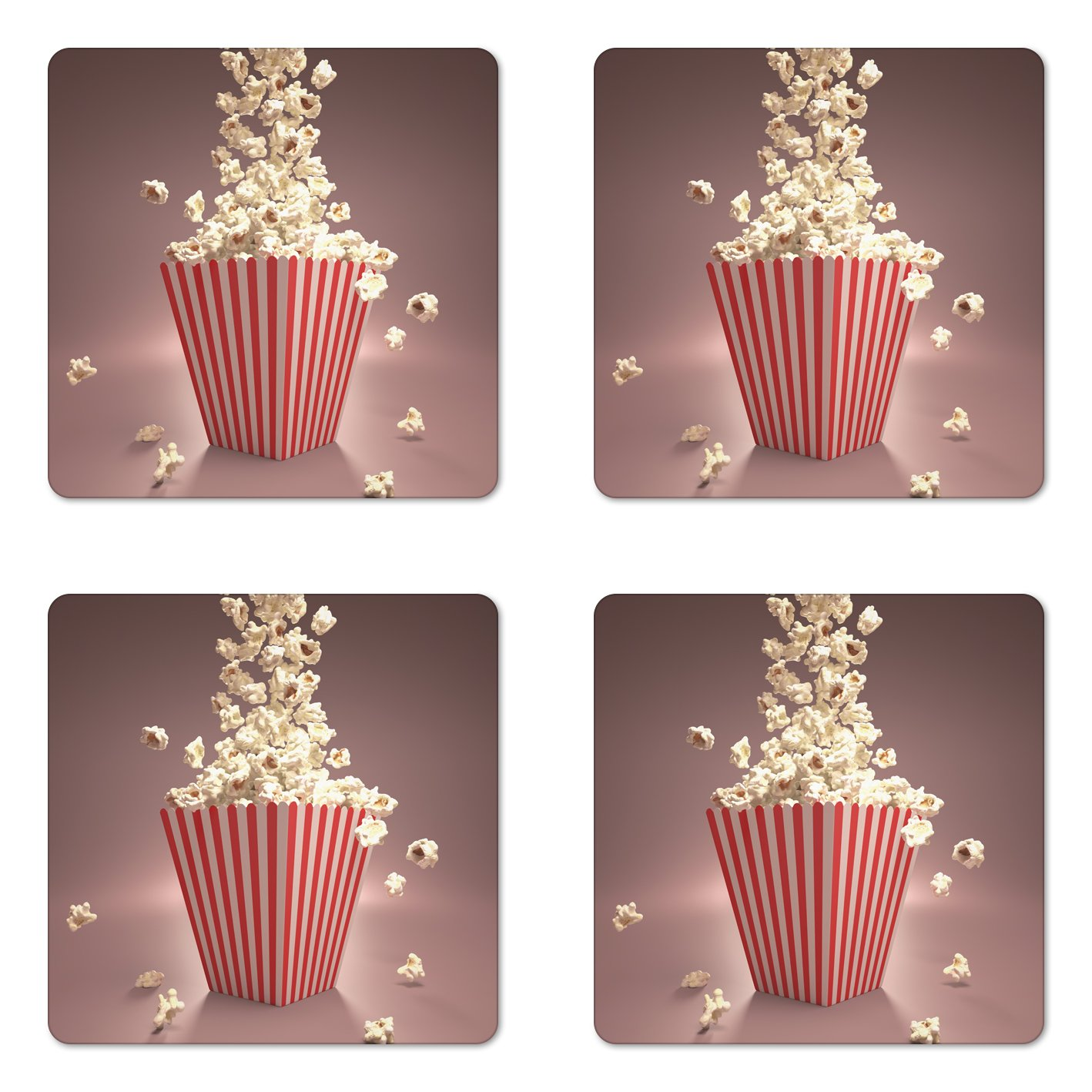 Lunarable Retro Coaster Set of Four, Retro Style Popcorn Art Image Cinema Movie Theater Theme in Classical Display, Square Hardboard Gloss Coasters for Drinks, Light Red White