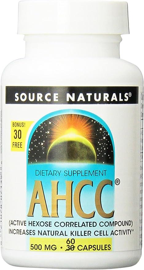 Source Naturals AHCC Capsules, 500 mg, 30+30 Capsules
