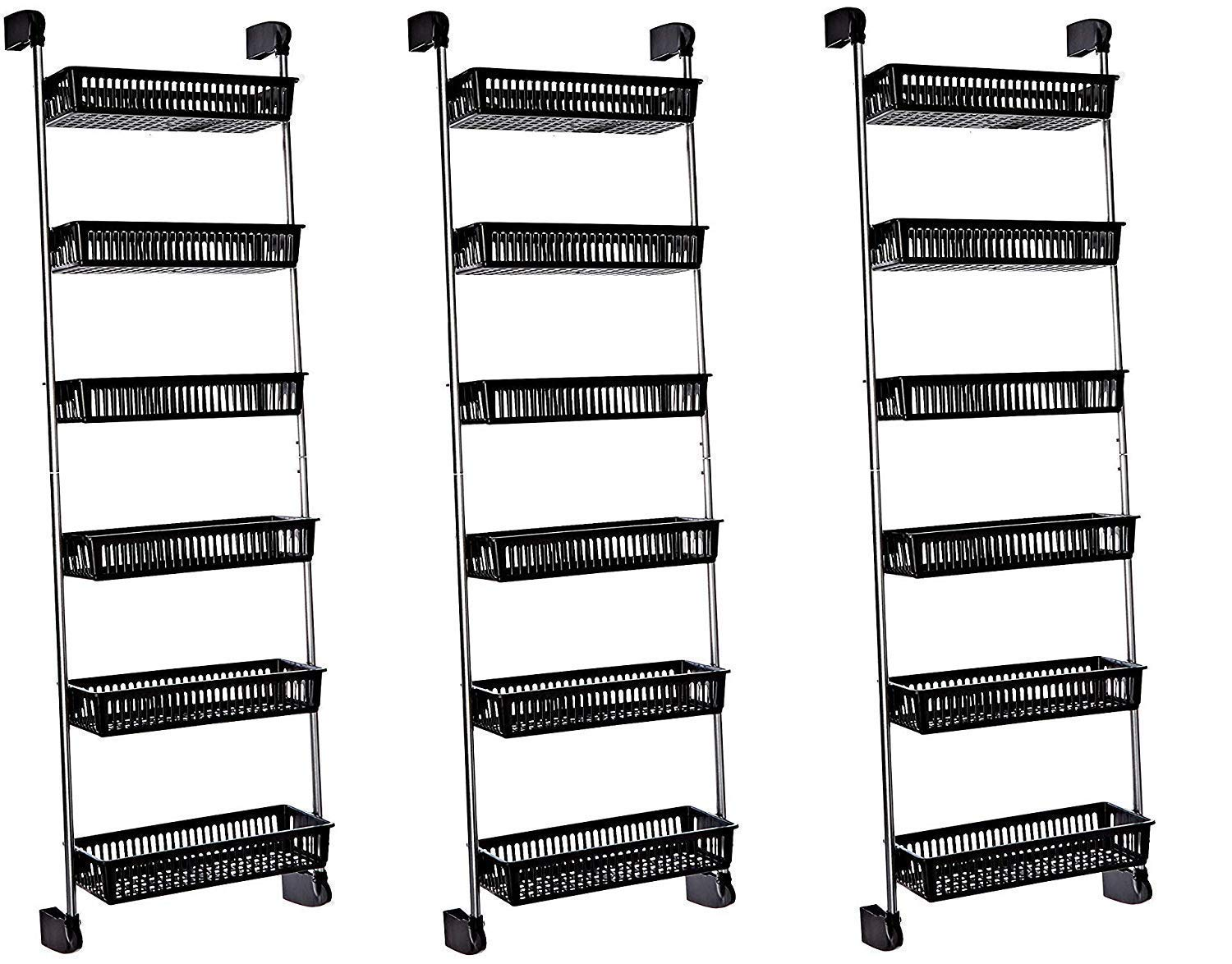 Neu Home Over the Door 6-Basket Hanging Storage Unit with Hooks (Pack of 3) by Neu Home