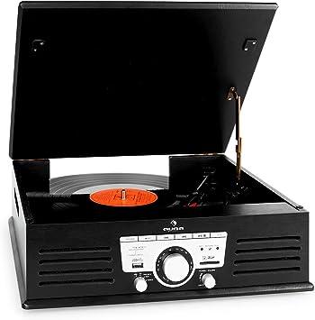 auna TT-92B Tocadiscos (USB, SD/MMC, MP3, AUX, Altavoces estéreo ...