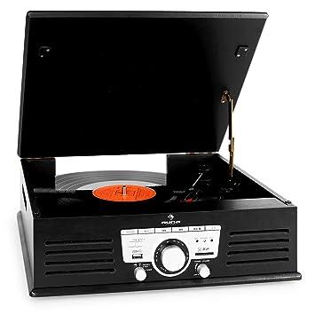 auna TT-92B Tocadiscos (USB, SD/MMC, MP3, AUX, Altavoces ...