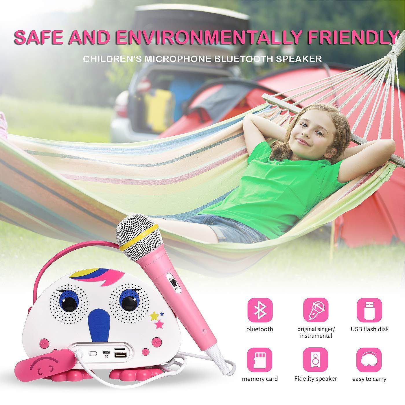 HowQ Outdoor Toys Karaoke Machine , Portable Kids Karaoke Bluetooth Speaker Wireless Cartoon Speaker for Kids for Indoor Toys Travel Activities with Microphone Karaoke Machine(Pink-White) by HowQ (Image #7)