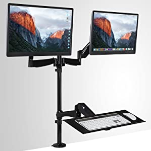 Mount-It! Sit-Stand Desk Mount Workstation, Height Adjustable Standing Desk, Ergonomic, Dual Monitor and Keyboard Mount, 22, 23, 24, 27 Inch Monitors, Gas Spring Arm, C Clamp Base, Black (MI-7922)