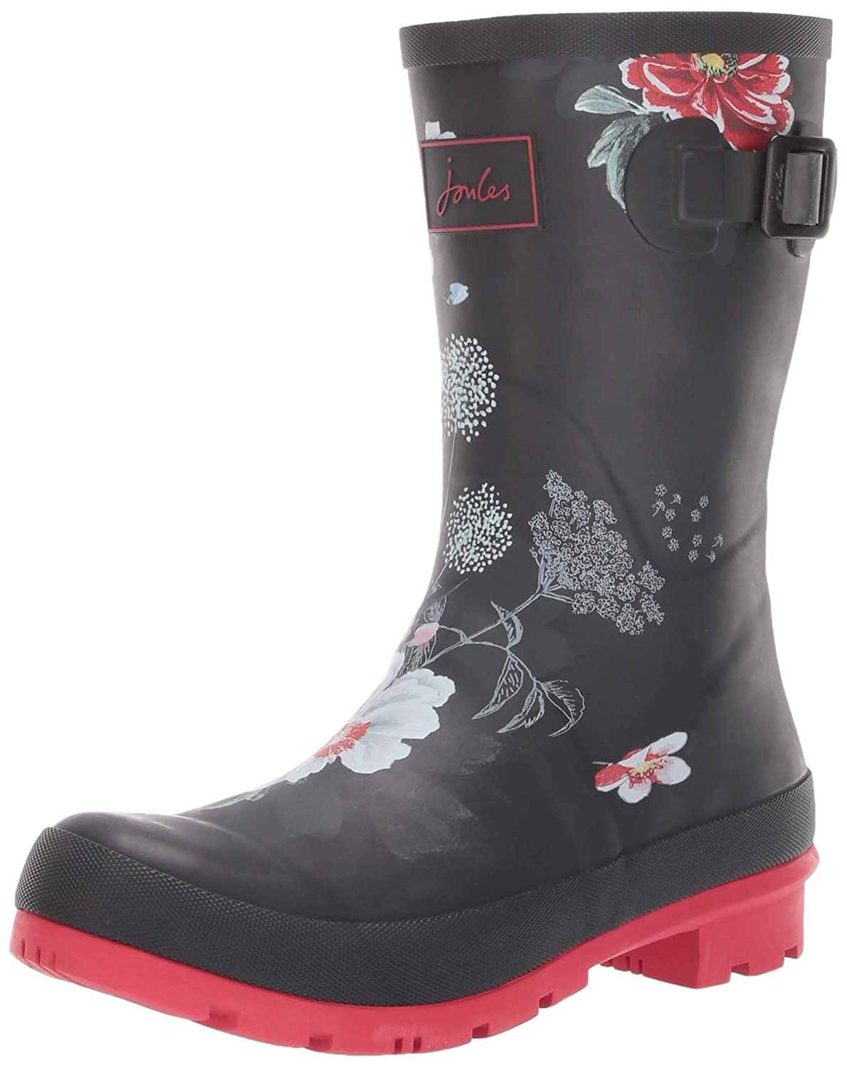 Black Floral Joules Women's Molly Welly Rain
