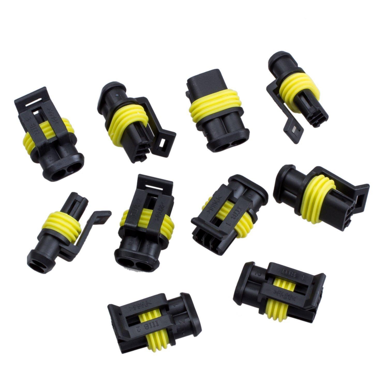 Sodialr 10 Kit 2 Pin Way Waterproof Electrical Wire Connector Plug Universal Wiring Harness Car Motorbike
