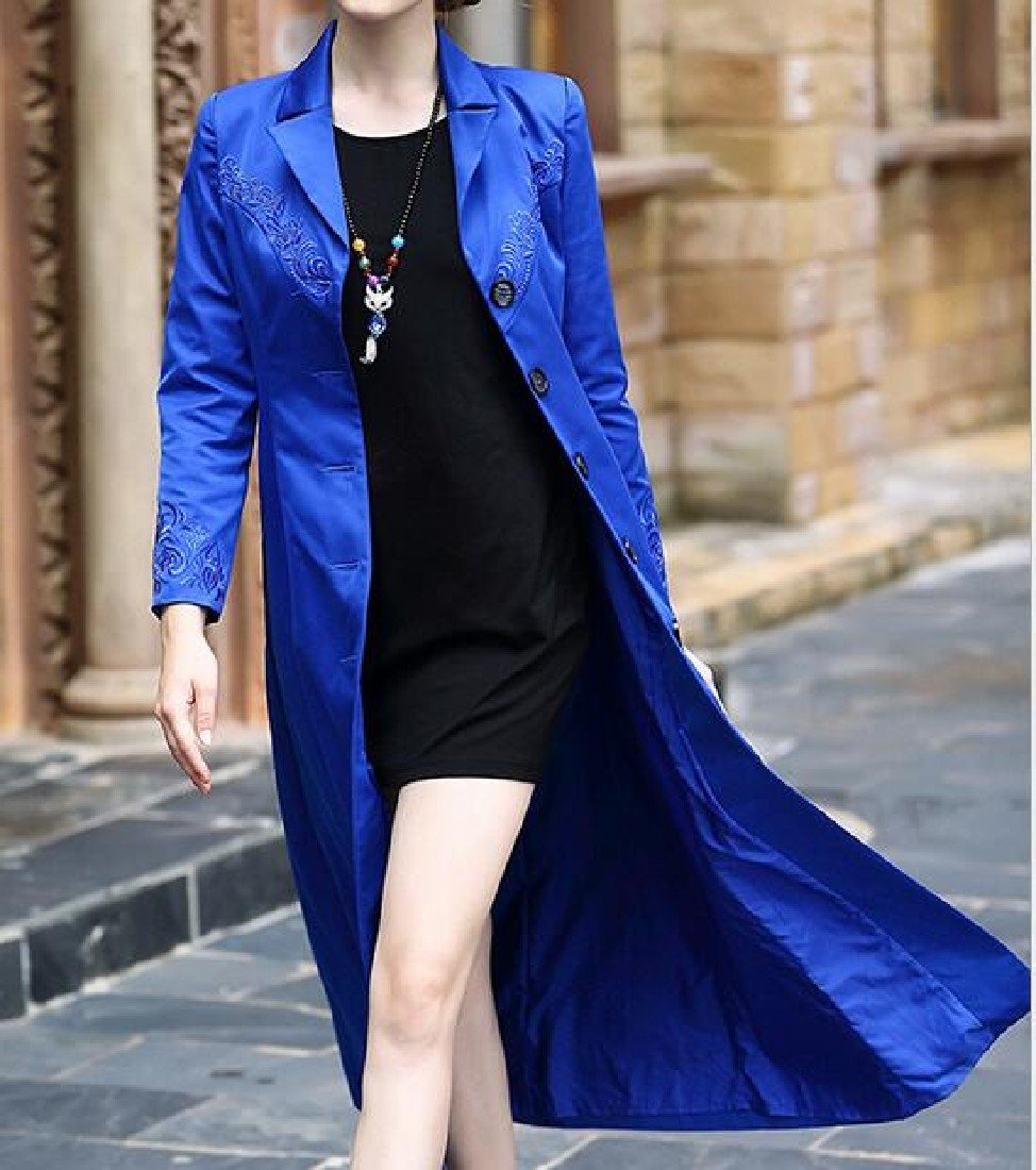 Pivaconis Women's Trench Coat Coat Longline Embroidered Buckle Topcoat Blue S by Pivaconis (Image #2)