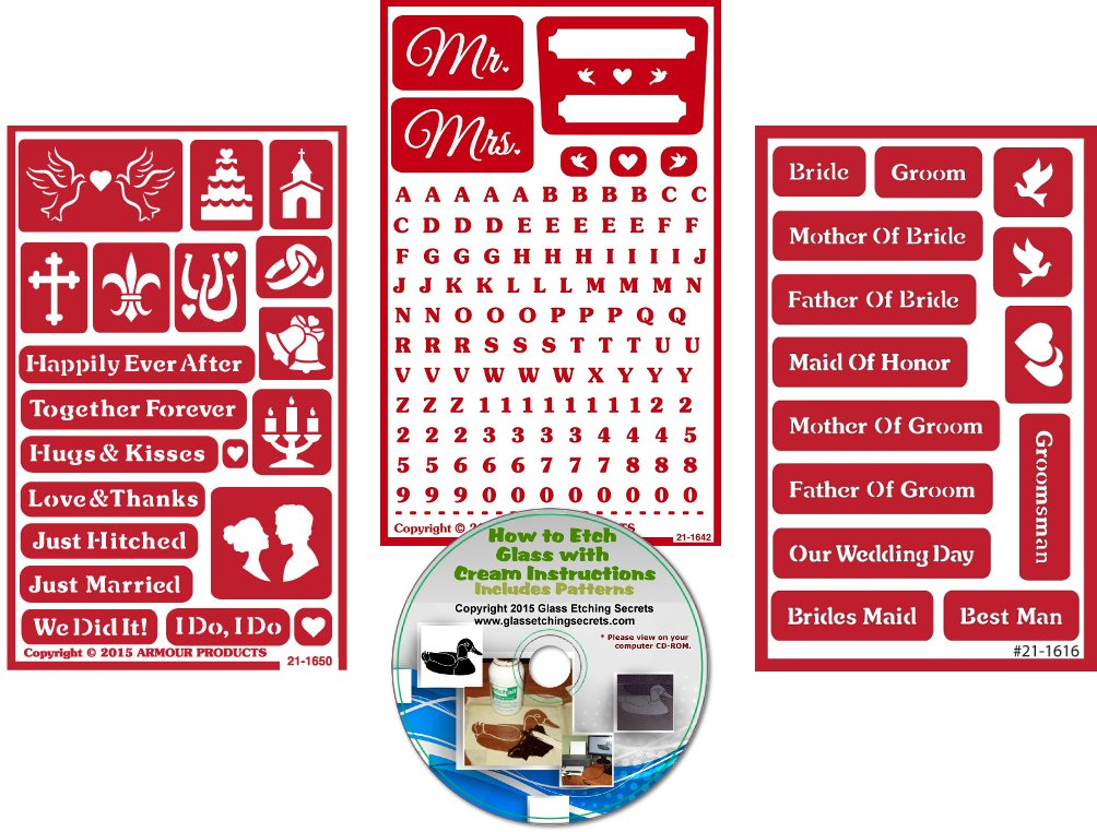 How to Etch CD Pack 3 Wedding Stencils Over N Over Reusable Marriage Designs