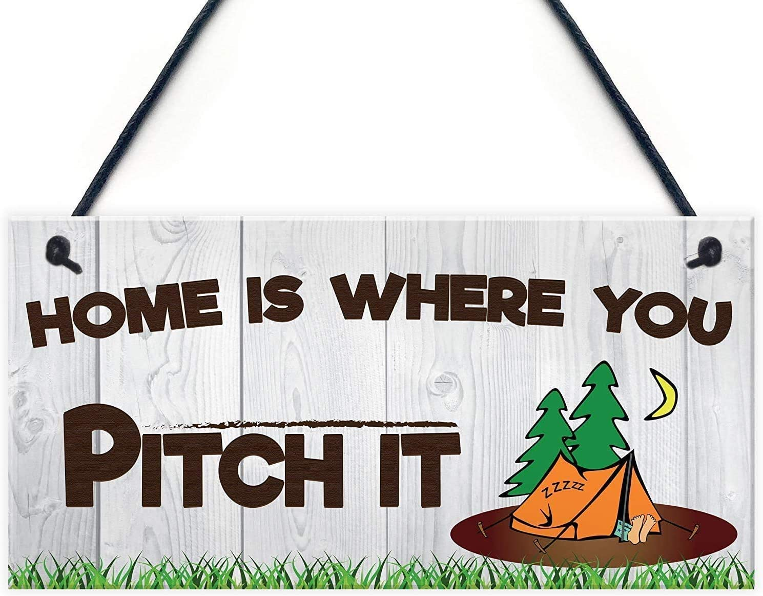 INNAPER Home is Wherever You Pitch IT Camping Wood Signs Tent Caravan Motor Home Decor Gift 12x6(49BW2220)
