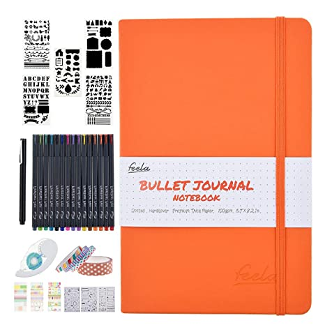 Bullet Dotted Journal Kit,Feela Dotted Bullet Grid Journal Set with a  192Pages Notebook,Fineliner Pens,Reusable Stencils,Sticker Sheet,Washi&Glue