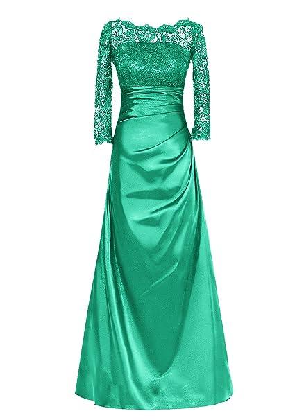 Dresstells reg;Vestido De Mujer Gala Fiesta Largo Elegante Mangas Tres Cuartos De Satén Encaje