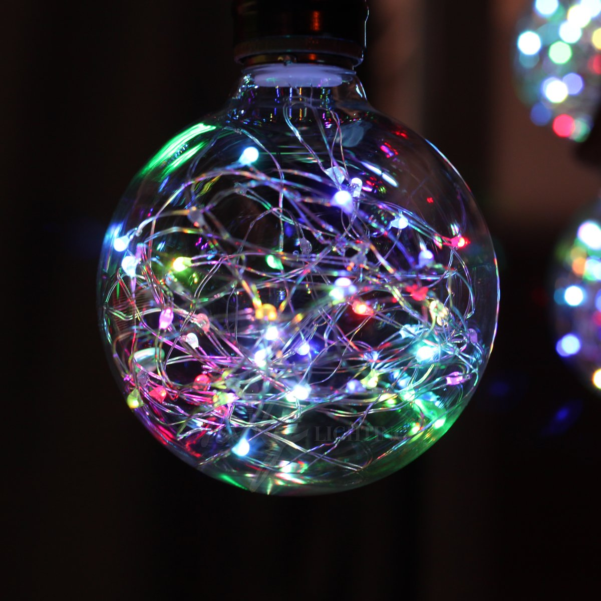 Judy Lighting - G95 LED Edison Flickering Bulb E26 Decorative Twinkling Starry Glass String Light Bulb Colorful Flashing Globe Sparkle Fairy Light, Romantic Festive Holiday Decoration