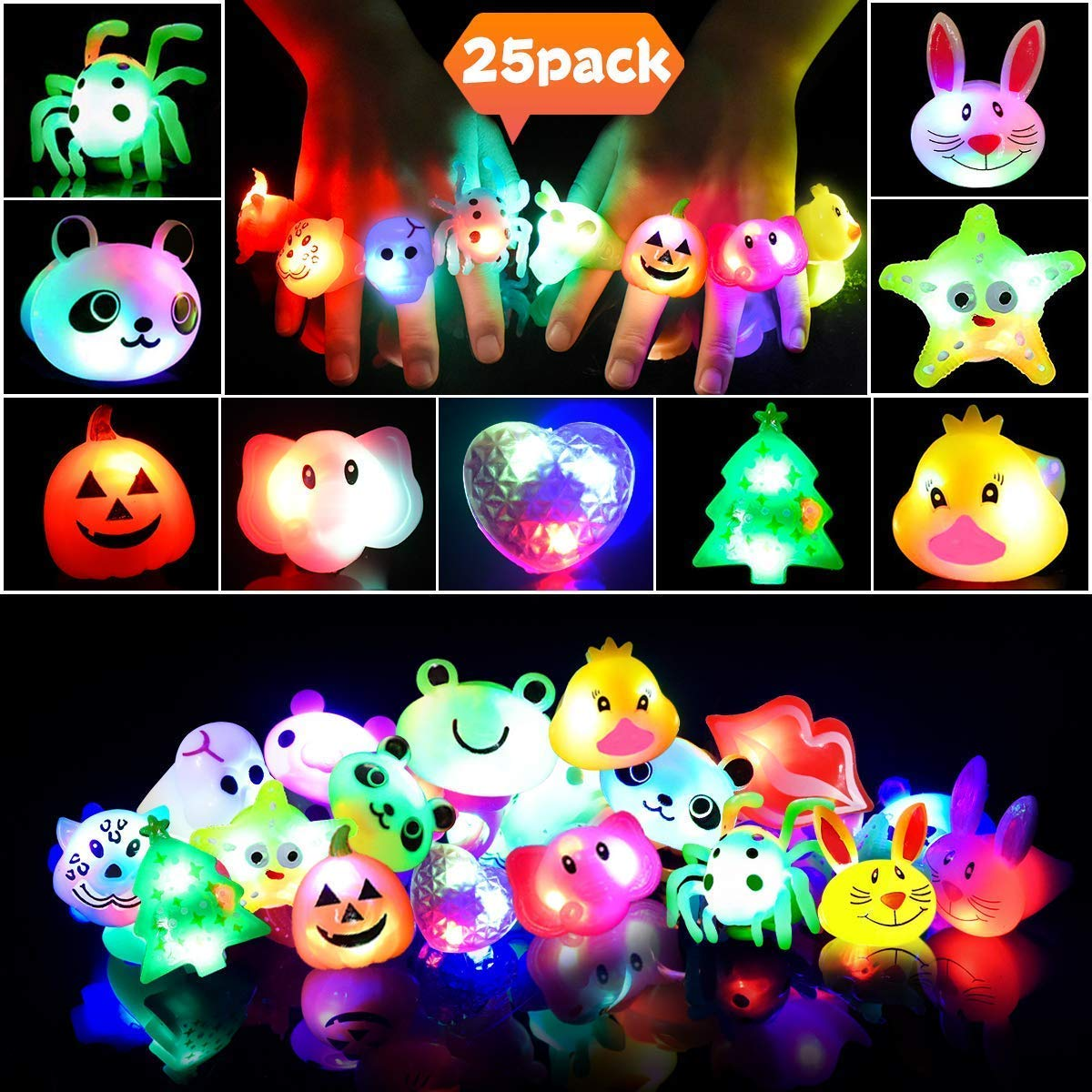 LEEHUR Led Party Favors Rings for Kids 25pcs Light Up Glow in the Dark Bling Jelly Flashing Ring for Girls Birthday Class Prizes Halloween Christmas Party Supplies Gift by LEEHUR