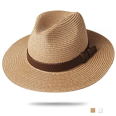 cbbfbbe5040 FURTALK Panama Hat Sun Hats for Women Men Wide Brim Fedora Straw Beach Hat  UV UPF