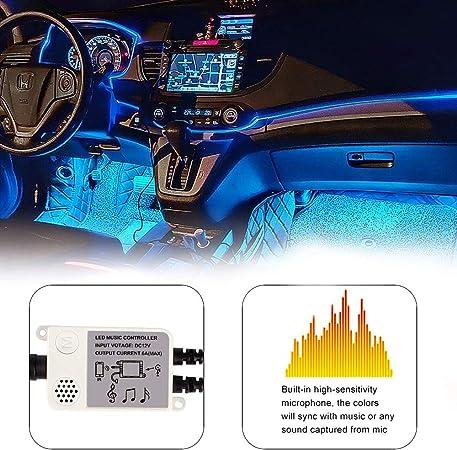 Innenbeleuchtung Cartaoo Auto Led Lichtleiste 4stk 48 Led Auto Umgebungslicht Mit App Fernbedienung Synchronisierung Mit Musik Strobe Modell Under Dash Beleuchtung Mit Usb Anschluss Dc 12v Auto