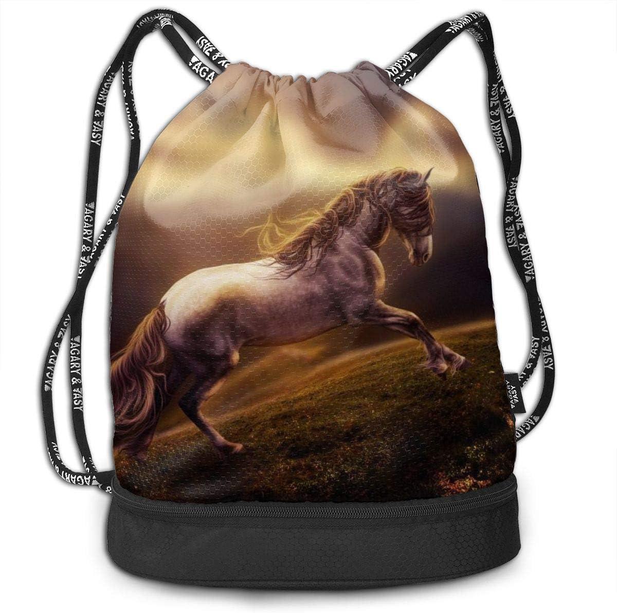 GymSack Drawstring Bag Sackpack Horse Sport Cinch Pack Simple Bundle Pocke Backpack For Men Women