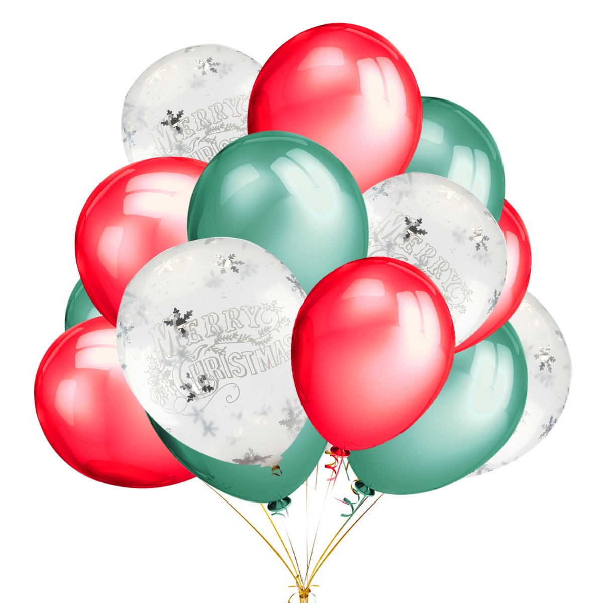 15 pcs Merry Christmas Printed White Snowflakes Confetti Balloons with 12 inches Green and Red Latex Party Balloons (30 Pcs) For Christmas Winter Wonderland Decorations Ornaments Party Supplies