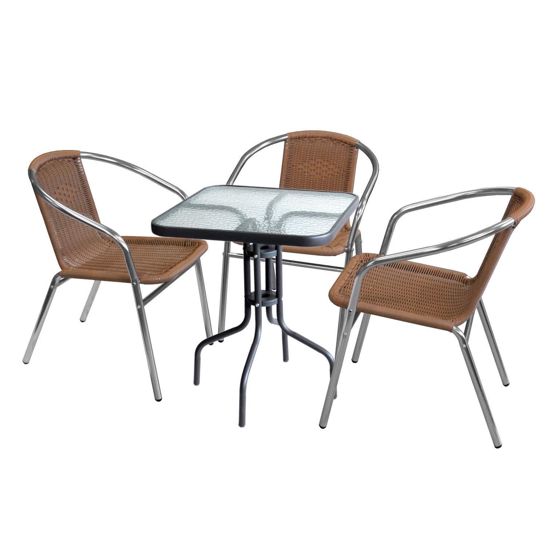 Wohaga 4tlg. Sitzgruppe Glastisch 60x60cm quadratisch + 3X Bistrostuhl, stapelbar, Polyrattanbespannung Natur