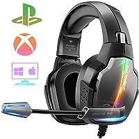 Cascos Gaming PS4, 4 Modos de Iluminación RGB y Orejeras Giratorias de 180°, Auriculares Estéreo Avanzados para Juegos…