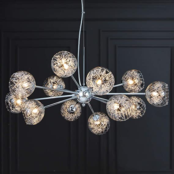 Amazon Com Meerosee Sputnik Chandeliers Modern Bubble Glass Chandelier Pendant Lighting Chrome Wired Aluminum 12 Light Fixture W37 4 For Dining Room Living Island Kitchen Bedroom Foyer Entryway Home Improvement
