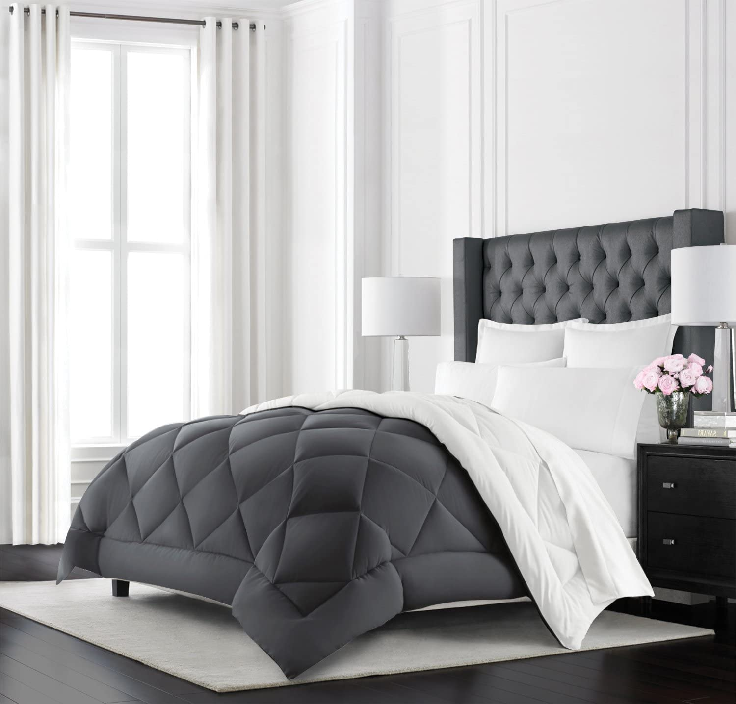 Beckham Hotel Collection Goose Down Alternative Reversible Comforter - All Season - Premium Quality Luxury Hypoallergenic Comforter - Full/Queen - Grey/White